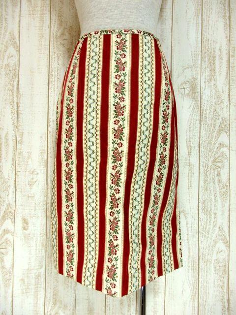 画像1: ☆ アンティークフラワー織り×ストライプ♪ 大人クラシカル!! 70'sヴィンテージスカート ☆ (1)