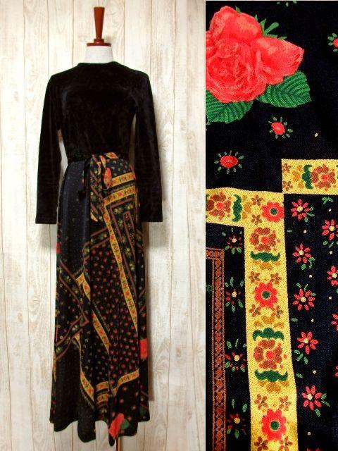 画像1: ベロア 花柄 ドット柄 西ドイツ製 ベルトリボンSET レトロ 長袖 ヨーロッパ古着 ヴィンテージドレス 【4855】 (1)