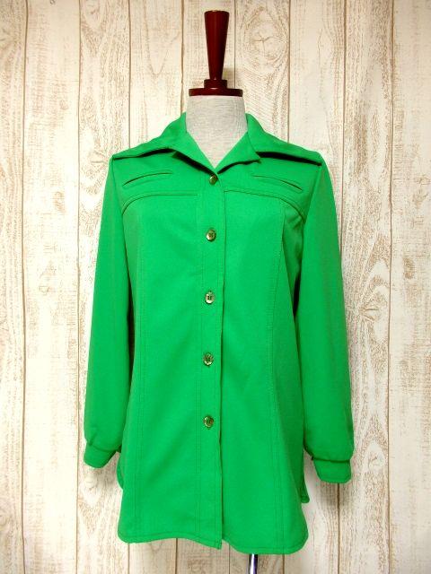 画像1: USA古着 綺麗なGreenカラー!!使い勝手抜群!! 繊細なステッチが素晴らしい♪ 大人可愛いヴィンテージシャツジャケット (1)