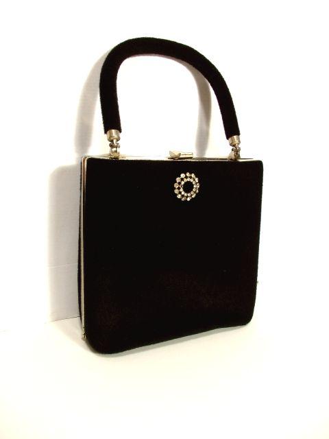 画像1: ビジュー装飾 ブラック パーティースタイル クラシカル レディース レトロ ハンド 鞄 バッグ【5034】 (1)
