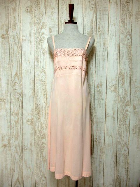 画像1: ヨーロッパ古着 ワンピースにはもちろん♪重ね着にも便利で可愛い!!ヨーロッパスリップドレスワンピース Pink (1)