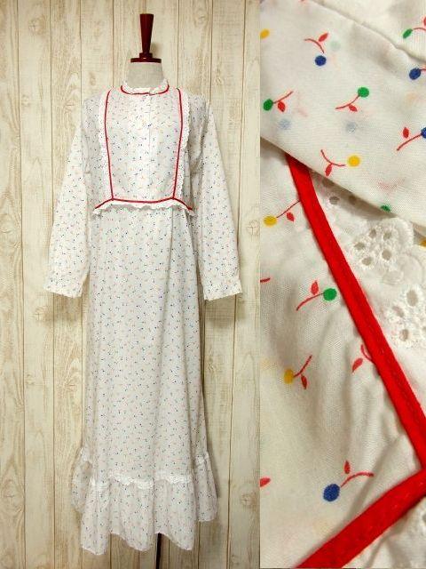 画像1: 木の実柄 ホワイト レース ふんわり レトロ 長袖 ヨーロッパ古着 ヴィンテージドレス 【5097】 (1)