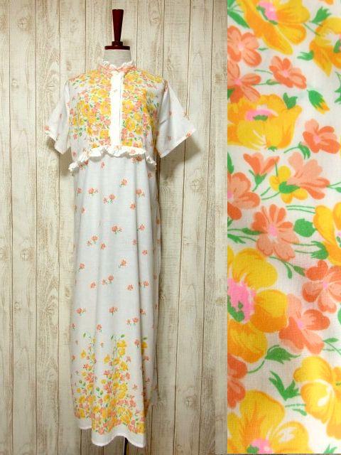画像1: ヨーロッパ古着 可愛らしいアンティークフラワープリント×フリル×リボンテープ装飾♪ ふんわり乙女ガーリーヴィンテージドレス (1)