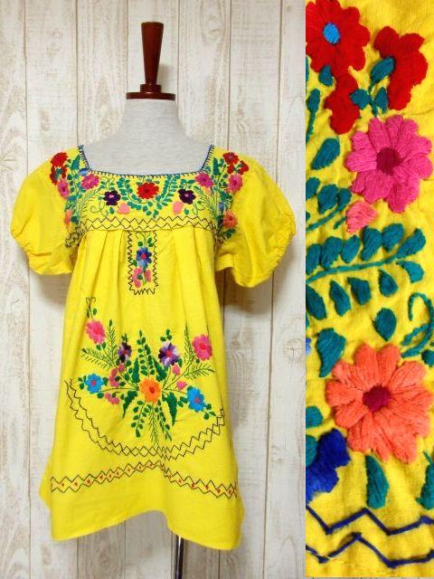 画像1: ぷっくりお花刺繍が可愛すぎる パイピング刺繍もピリリと効いて可愛さ満点 USA古着 レトロフォークロア メキシカン半袖刺繍TOPS イエロー【5285】 (1)