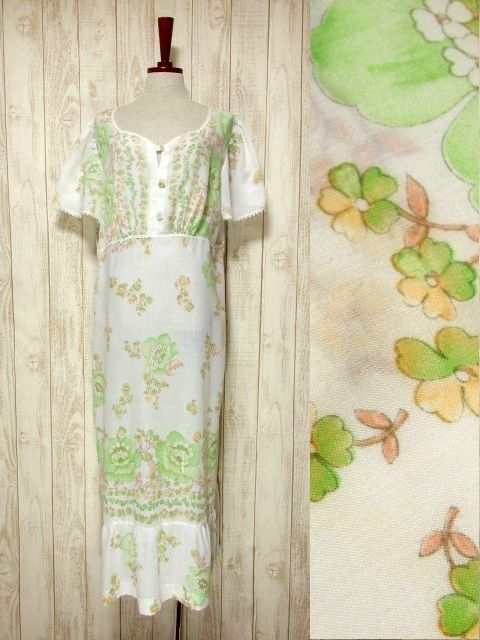 画像1: ヨーロッパ古着 可愛らしいフラワー柄×レース装飾♪ ふんわり乙女ガーリーヴィンテージワンピース (1)