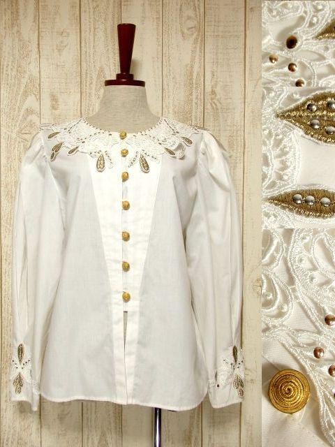 画像1: ドイツ製 大きなカットワークレース襟 シャンパンゴールドカラー刺繍 スタッズ装飾 ヨーロッパ古着 ヴィンテージホワイトブラウス【5399】 (1)