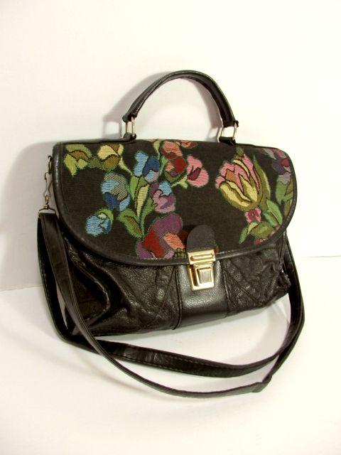 画像1: ゴブラン 花模様 ブラック レザー レディース ヨーロッパ レトロ ショルダー 鞄 バッグ【5448】 (1)