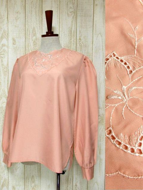 画像1: ぷっくり可愛らしいお花刺繍 ピンク ヨーロッパ古着 長袖 シャツ ヴィンテージトップス【5494】 (1)