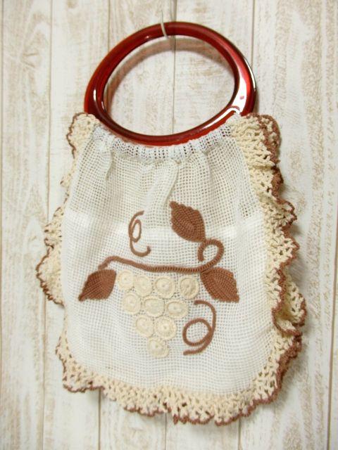 画像1: 大きな持ち手 模様編み ガーリー レディース レトロ ハンド 鞄 バッグ【5522】 (1)