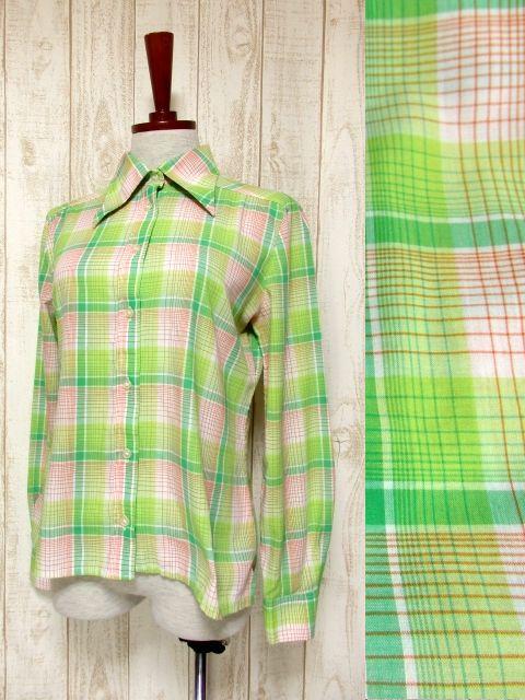 画像1: ヨーロッパ古着 チェック柄×アップルグリーンのグラデーションカラーが可愛い♪ レトロポップなヴィンテージブラウス ☆ (1)