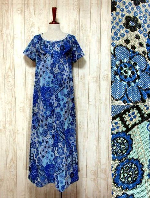 画像1: 花模様織り 衣装にもおすすめ 花柄 ブルー 華やか レトロ 半袖 ヨーロッパ古着 ヴィンテージドレス【5606】 (1)
