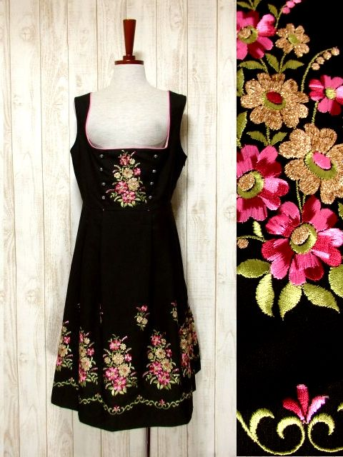 画像1: お花刺繍 ブラック サイドジッパー ノースリーブ クラシカル ディアンドル チロルワンピース ドイツ民族衣装 舞台 演奏会 フォークダンス オクトーバーフェスト 【5661】 (1)
