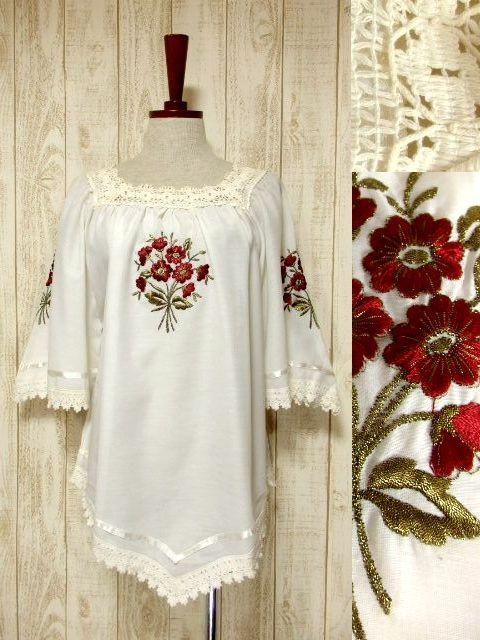 画像1: ギリシャ製 ぷっくりお花刺繍 透かし編みレース テープ装飾 ボリュームあるフレア袖 ヨーロッパ古着 大人フェミニンなヴィンテージスモックブラウス【5714】 (1)
