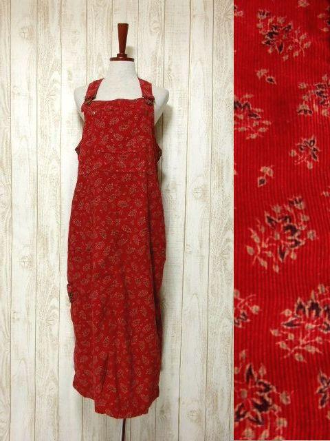 画像1: レトロジャンパースカート 花柄 ポケットたくさん ノースリーブ 昭和レトロ 国産古着【5750】 (1)