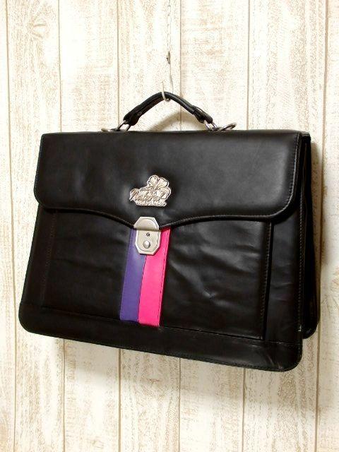 画像1: レザー ブラック 大きめサイズ USA レディース レトロ ヴィンテージ ハンド 鞄 バッグ【5782】 (1)