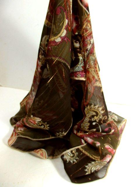 画像1: レトロアンティーク ヴィンテージスカーフ ペイズリー 花柄 ストライプ【5828】 (1)