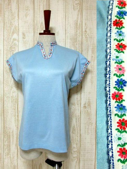 画像1: ヨーロッパ古着 爽やかなカラーリング 繡入りチロルテープ装飾が可愛い シャツ ヴィンテージトップス【5927】 (1)