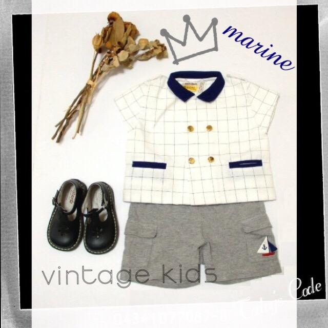 画像1: ☆  ヨーロッパ古着 フランス買い付け vintageキッズ マリンヴィンテージキッズトップス size70〜80 kids&baby ☆ (1)