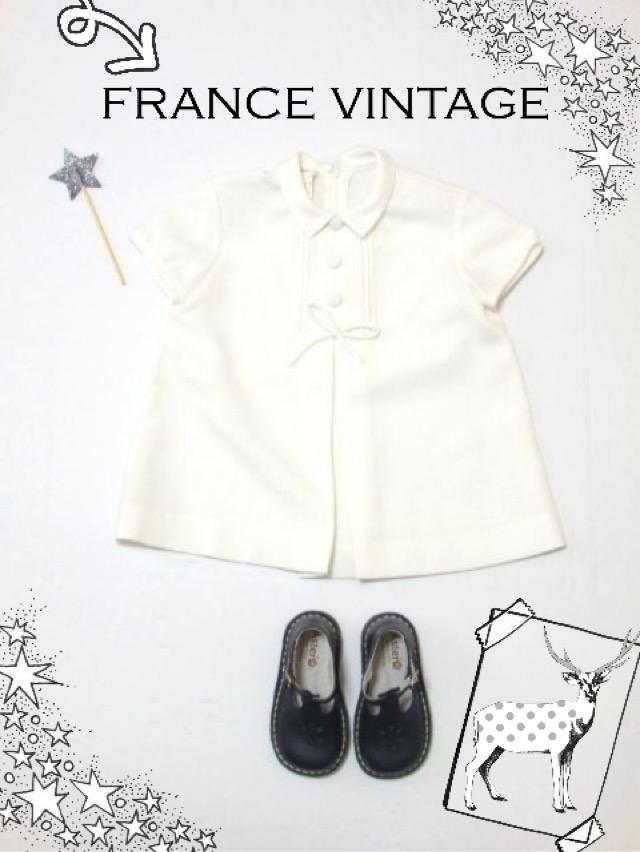 画像1: ☆ フランス古着 フランス買い付け vintageキッズ 上品で可愛らしいデザイン ヴィンテージキッズワンピース size80〜90cm kids&baby ☆ (1)