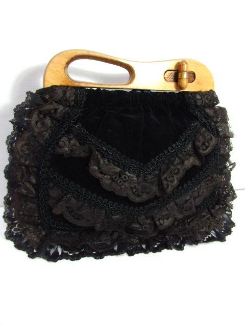 画像1: ベロア フラワーレース ブラック ウッドの持ち手が可愛い クラシカルガーリー レディース レトロ 鞄 バッグ【6108】 (1)