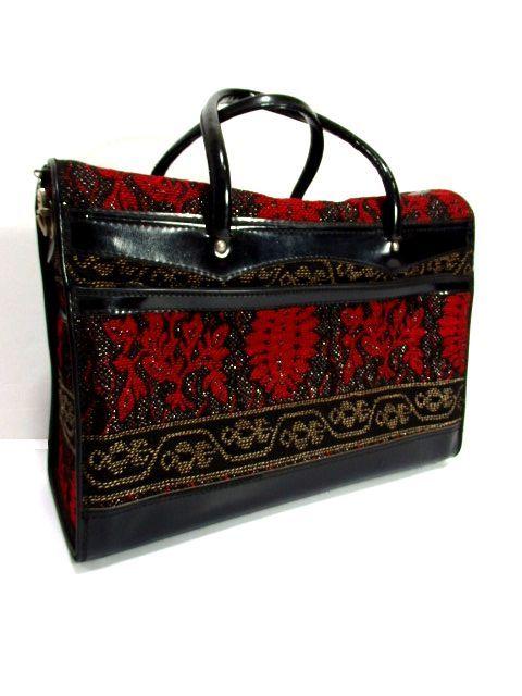 画像1: クラシカル模様織り ブラック レッド 鍵付 大きめサイズ 重厚感 レディース レトロ ハンド 鞄 バッグ【6186】 (1)