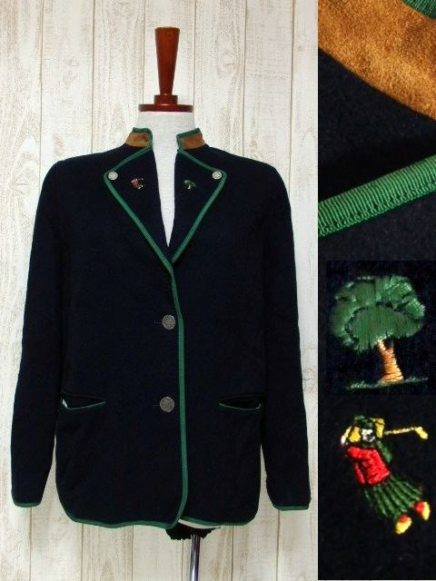 画像1: ☆ ヨーロッパ古着 Navy×Green★ゴルフを楽しむ可愛らしい刺繡デザイン★ ヨーロピアンチロルジャケット ☆ (1)