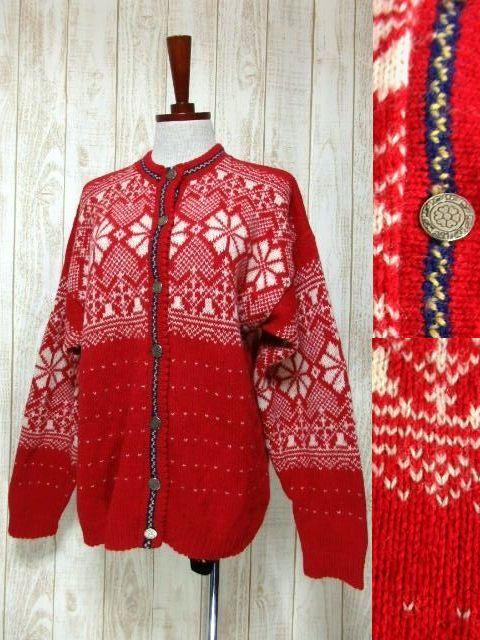 画像1: ☆ ヨーロッパ古着 Red×White★雪の結晶模様編み♪ 大人レトロフォークロアstyleにもおすすめ♪ ほっこり暖かニットカーディガン ☆ (1)