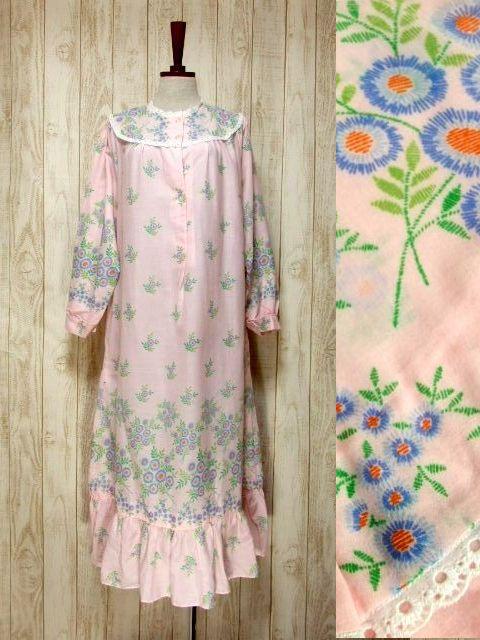 画像1: アンティークフラワープリント 淡いピンク レース装飾 レトロガーリー 長袖 ヨーロッパ古着 ヴィンテージドレス 【6331】 (1)