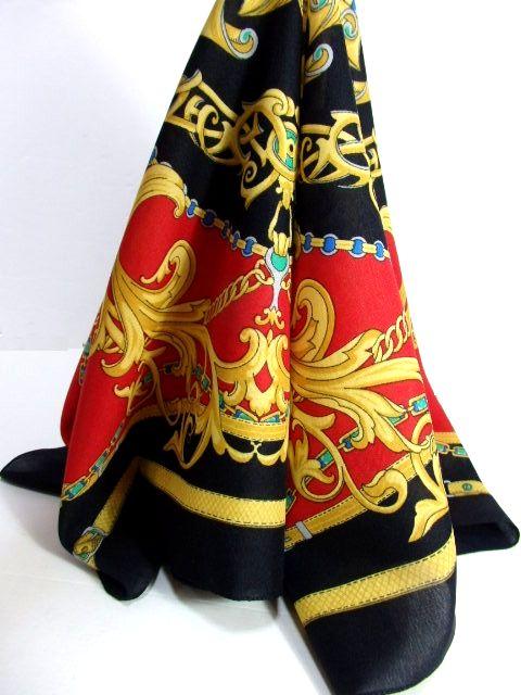 画像1: レトロアンティーク ヴィンテージスカーフ イタリア製【6367】 (1)