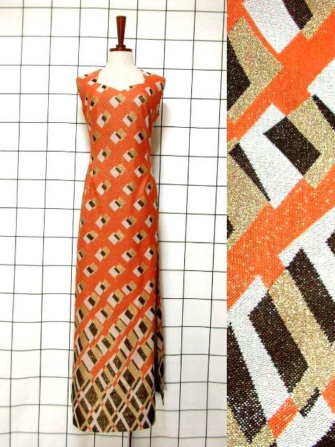 画像1: スクエア模様織り 衣装にもおすすめ ノースリーブ クラシカル レトロ ヨーロッパ古着 ヴィンテージロングドレス【6396】 (1)