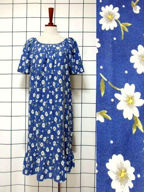 画像1: ドット柄 花柄 ブルー 半袖 レトロ ガーリー ヨーロッパ古着 ヴィンテージワンピース【6515】 (1)