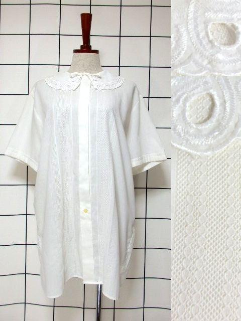 画像1: カットワークデザインの大きな襟が可愛い 首元リボン ヨーロッパ古着 ヴィンテージホワイトブラウス【6551】 (1)