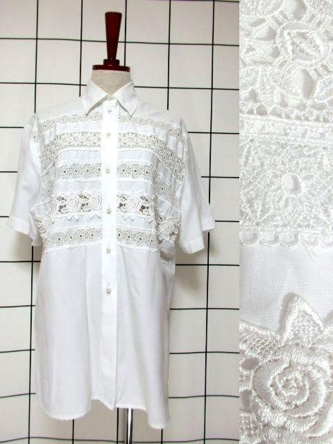 画像1: 贅沢なフラワーレース使いが素晴らしい ヨーロッパ古着 ヴィンテージホワイトブラウス【6557】 (1)