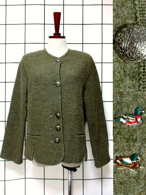 画像1: チロルジャケット 鳥刺繍 カーキ ウール 襟なし フォークロア ヨーロッパ古着 (1)