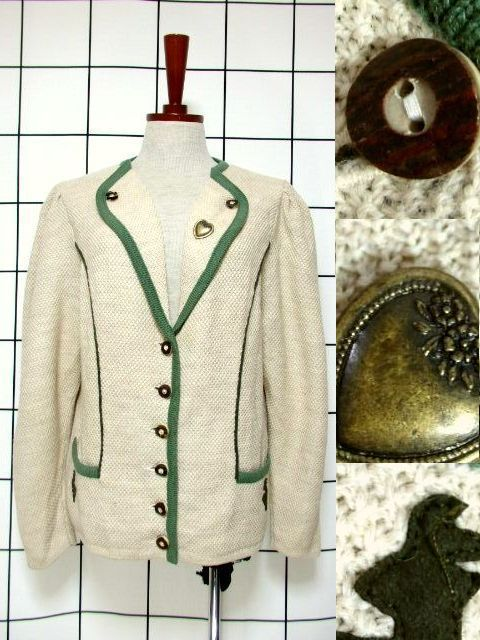 画像1: チロルニットジャケット ハートパーツ アニマルパッチ ベージュ グリーン ウール ウッド調ボタン フォークロア ヨーロッパ古着 (1)