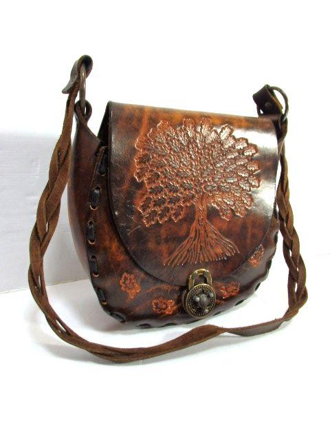 画像1: メキシカン 型押し カービング ブラウン 本革レザー 彫り レディース ヴィンテージ ショルダー 鞄 バッグ【6661】 (1)