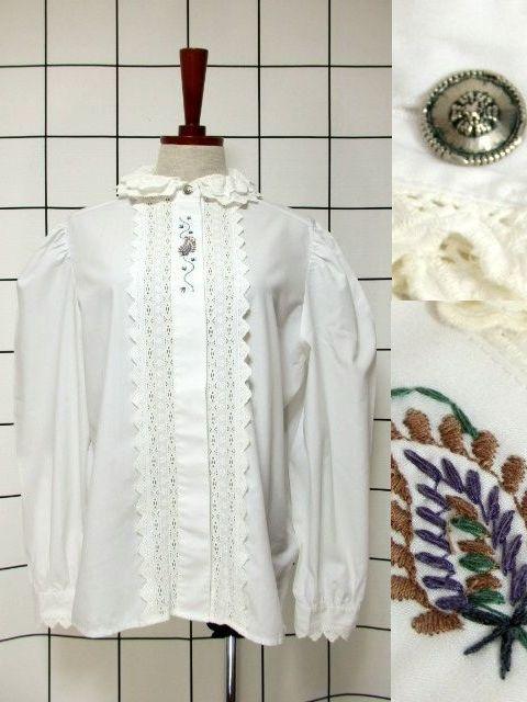 画像1: 刺繍 ダブルレース襟 ホワイト チロルブラウス ドイツ民族衣装 舞台 演奏会 フォークダンス オクトーバーフェスト 【6670】  (1)