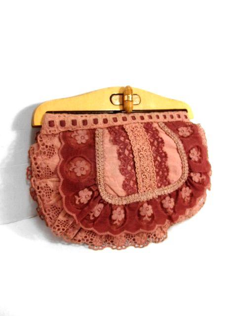 画像1: お花レース ウッドの持ち手が可愛い ガーリー レトロ ヴィンテージ レースバッグ 鞄【6735】 (1)
