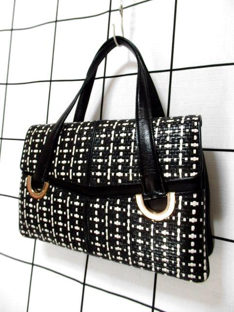 画像1: レザー 編み上げ ブラック ホワイト モノクロ レトロ ヴィンテージバッグ 鞄【6736】 (1)