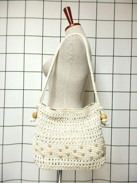 画像1: かぎ編みデザイン オフホワイト カタチが可愛らしい ナチュラルガーリー レディース レトロ 鞄 バッグ【6745】 (1)