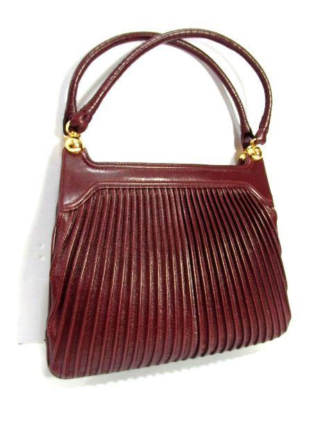 画像1: レッドブラウン レザー 色合いカタチが可愛い レディース レトロ ハンド 鞄 バッグ【6814】 (1)