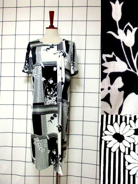 画像1: レトロモダン ホワイト ブラック 花柄 70's 半袖 昭和レトロ 国産古着 レトロワンピース【2245】 (1)