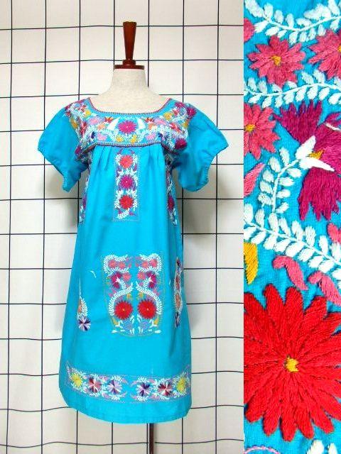 画像1: メキシカン刺繍 ライトブルー フォークロア 半袖 レトロ USA古着 ヴィンテージドレス【5960】 (1)
