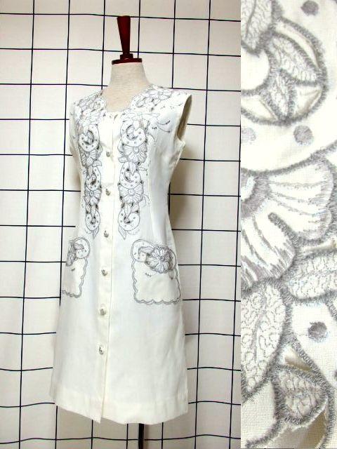 画像1: スペイン製 お花刺繍 カットワークデザイン ホワイト 白 前開き クラシカル レトロ ノースリーブ ヨーロッパ古着 ヴィンテージワンピース 【6028】 (1)