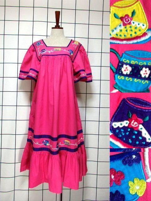 画像1: インド製 コットン ティーカップ刺繍 ピンク ふんわり 半袖 レトロ フォークロア ガーリー ヴィンテージドレス【6007】 (1)