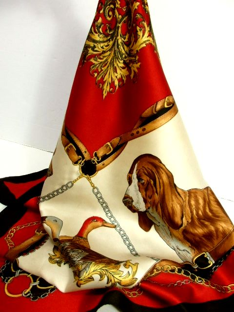 画像1: レトロアンティーク ヴィンテージスカーフ 犬柄 鳥柄 イタリア製【6946】 (1)