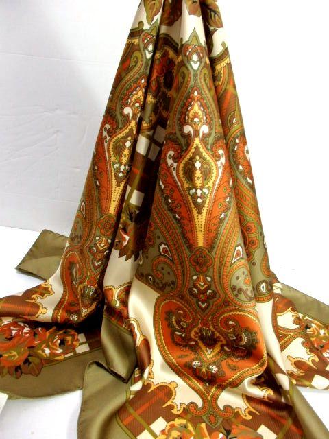 画像1: レトロアンティーク ヴィンテージスカーフ ペイズリーモチーフ 花柄 イタリア製【7002】 (1)
