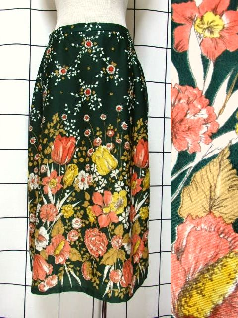 画像1: 花柄 ボタニカル柄 グリーン レトロ ヨーロッパ古着 ヴィンテージスカート【7045】 (1)