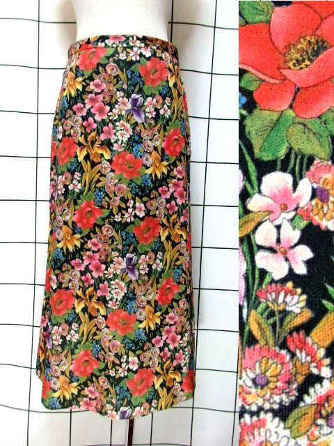 画像1: 花柄 ボタニカル柄 ブラック レトロ ヨーロッパ古着 ヴィンテージスカート【7077】 (1)