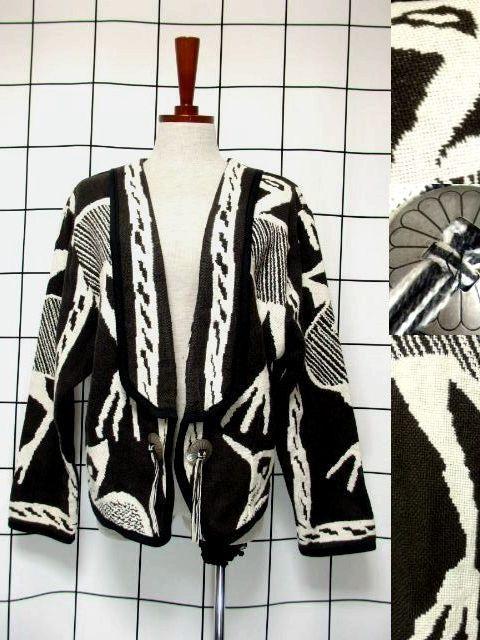 画像1: 鳥柄 ブラック ホワイト ネイティブ感 フォークロア レトロ USA古着 ヴィンテージアウター【7099】 (1)